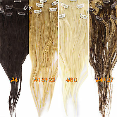 6 bandes de cheveux a clip extension 100% naturel remy hair blond chatain