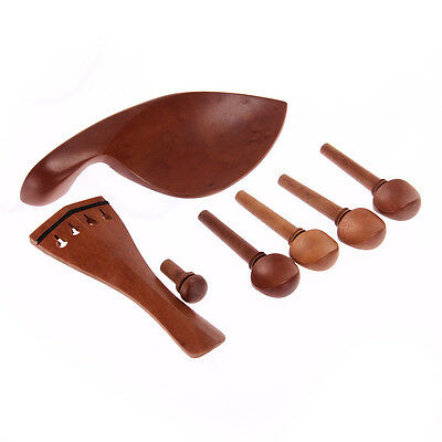 4/4 Violin Chinrest Pegs Tailpiece Endpin Fittings Set Kit Musical Brown