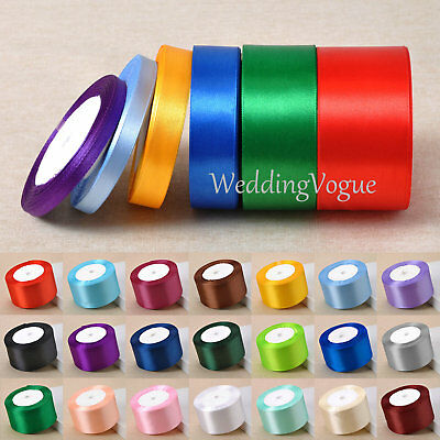 25yards 6mm to 50mm Width Satin Ribbon Roll Bows Wedding DIY Craft Sewing Decor
