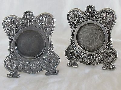 2 Lenox Pewter Floral Picture Photo Frames Kirk Stieff Collection Circle Small