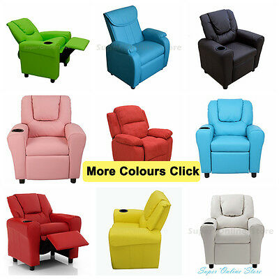 PU Leather Recliner Lounge Chair  Kids Children Sofa with Drink Holder color mc