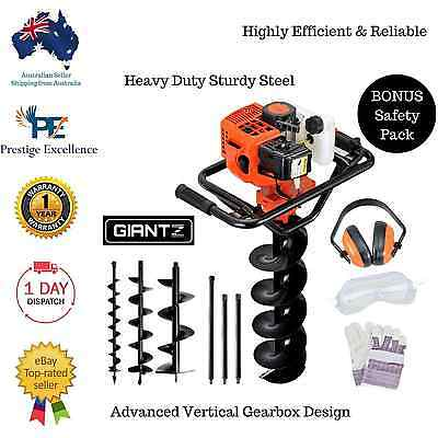 88cc Petrol Post Hole Digger Earth Auger Fence Posthole Borer Bits Drill Kit Set