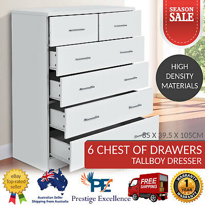 Retro Tallboy Bedroom 6 Drawer White Dresser Chest of Drawers Cabinet NEW Timber