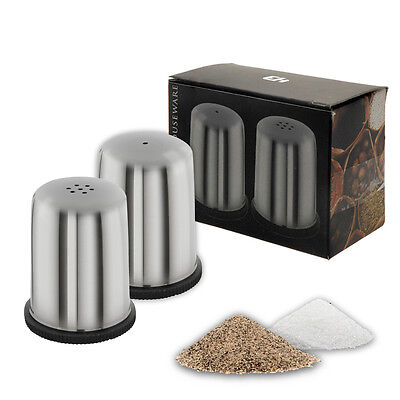 Stainless Steel Salt And Pepper Pots Set Shakers Holders Dining Cafe Table Food