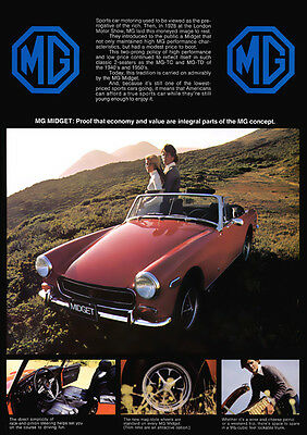 Mg Midget Retro Poster A3 Print From Classic 70's Advert