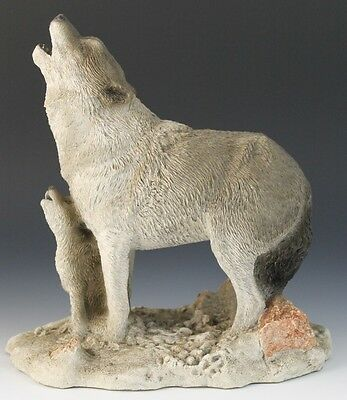 Howling Lessons Vintage Living Stone Wolf Sculpture Cold Cast Resin