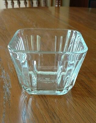 1932 Vintage Design Anchor Hocking Clear Glass Refrigerator Dish 1 3/4C No Lid