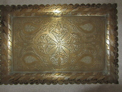 Antique Kashmir Brass Chased Niello Platter Tray