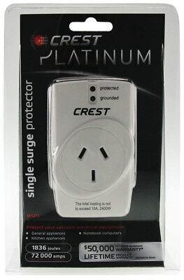 NEW Crest - MSP1 - Single Outlet with Surge Suppression from Bing Lee