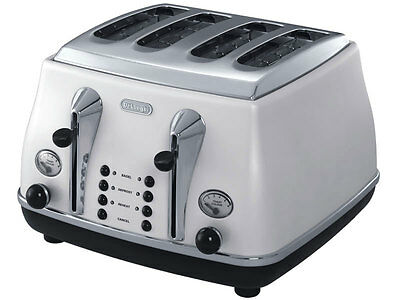 NEW DeLonghi - CTO4003W - Icona 4 Slice Toaster (White) from Bing Lee