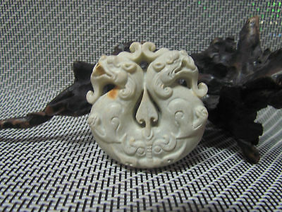 Old Chinese Neolithic HongShan jade Hand carved Amulet Pendant Ssangyong