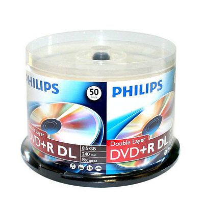 50 PHILIPS 8X DVD+R DL Dual Double Layer 8.5GB Branded Logo Spindle