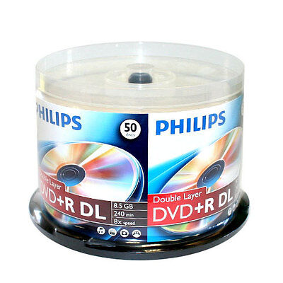 100 PHILIPS 8X DVD+R DL Dual Double Layer 8.5GB Branded Logo Spindle