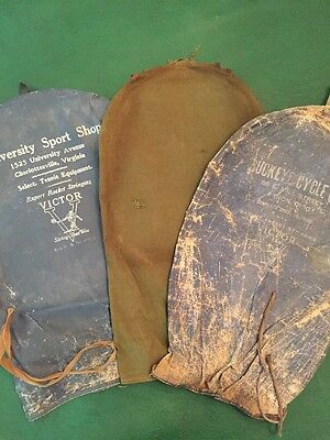 Lot Of 3 Antique Tennis Racquet Covers, Linen