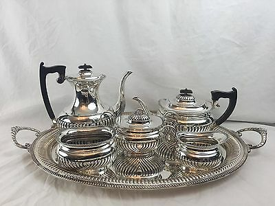 English Sterling 5 Piece Coffee & Tea Set WithTray Circa 1923