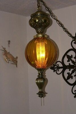 Vintage Retro Brass and Amber Glass Swag Lamp Light Fixture Diffuser Ornate