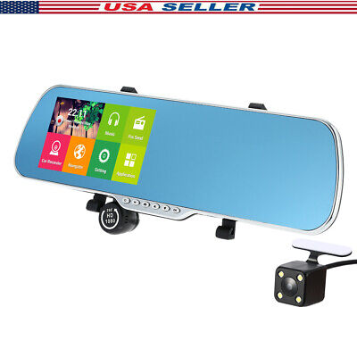 "5"" Android Car GPS Navigation Rearview Mirror DVR Dual Lens Camera Recorder FM"