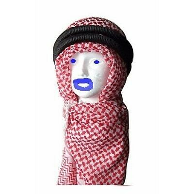 Red/WHITE Keffiyeh Shemagh Arab Scarf Desert Face Wrap Authentic Iqal Agal