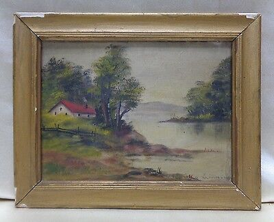 Antique 1902 SGD Home by River Oil Painting on Canvas w. Gold Antique Wood Frame