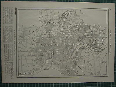 1926 Map ~ Cincinnati Ohio Price Hill Fairmount Mill Creek Bellevue