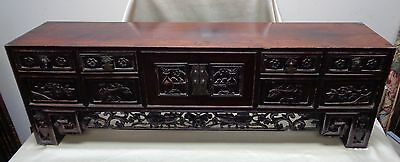 Antique Oriental Rosewood Cabinet w. Intricate Carved Designs & Dovetail Edges
