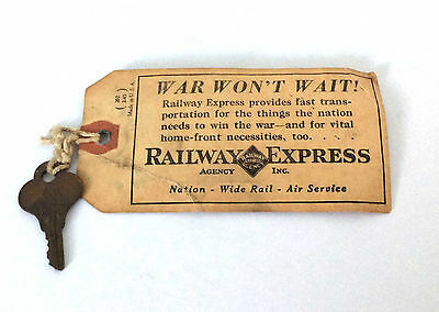 Vintage Railway Express Agency Inc. Tag and Key from 3-12-1946 Freight Bag Shipp
