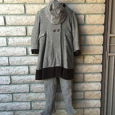 VTG 1930s Girls Clothing Set 3-Pc Suit Outfit Pants Coat Bonnet Wool Houndstooth