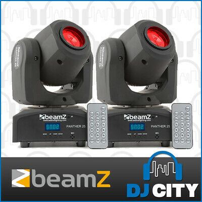 Beamz Panther 25 LED Mini Moving Head PAIR 1 x 12 Watt CRE LEDs Each