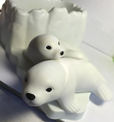 Seal Sea Lion Mom Baby Pup Figurine Planter Candy Dish Bowl Harp Figure Decor