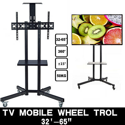 Plasma LCD Cart Flat Screen Panel TV Stand Mount Mobile Wheels for 32 '' - 65'
