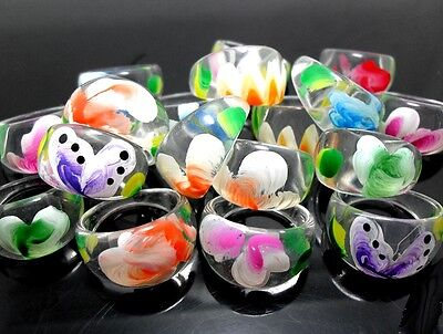 30pcs Flower Mix Beautiful Resin Rings For Women Wholesale Fashion Jewelry Lots