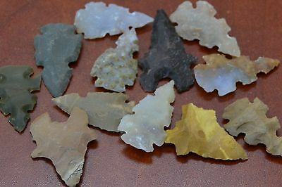 "12 Pcs Assort Shape Agate Stone Spear Point Arrowhead 1 1/2"" - 2"" #t-2536"