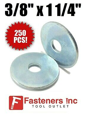 """(QTY 250) 3/8"""" x 1-1/4"""" OD Extra Thick .125 Zinc Plated Heavy Fender Washers"""