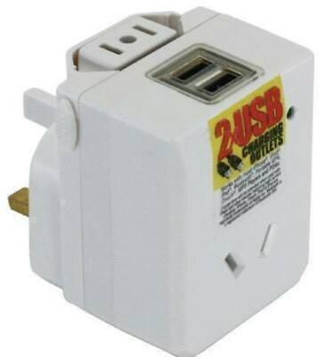 Universal Travel Adaptor with 2 x USB - Au to 150 Countries