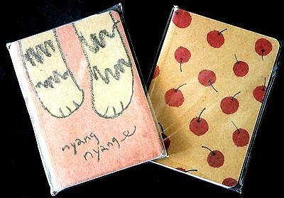 2 x Notebooks Small Recycled Paper Cherry Cat Stationery Pocket Memo Korean