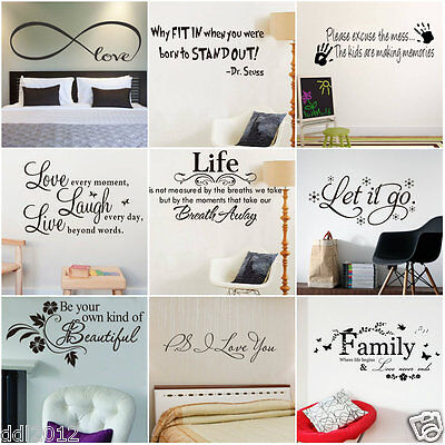2016 DIY Removable Art Vinyl Quote Wall Sticker Decal Mural Home Kids Room Decor