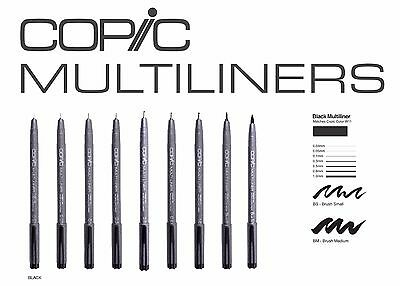 Copic Multiliner Black in 0.03 - 0.05 - 0.1 - 0.3 - 0.5 - 0.8 - 1.0 - BS & BM