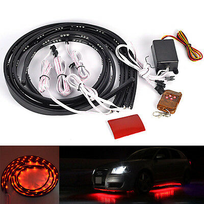 Red LED Strip Under Car Tube Underglow Glow System Underbody Neon Lights Kit