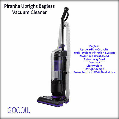 Piranha Upright Bagless Vacuum Cleaner 2000W Large 3-litre capacity