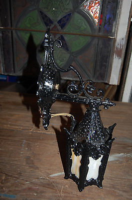 Antique Cast Iron Gothic Exterior Wall Sconce With Slag Glass Victorian