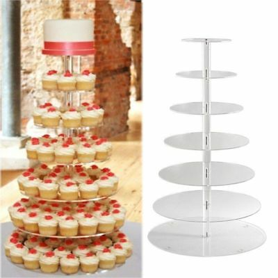 NEW 7 Tier Acrylic Round Cake Stand Cupcake Dessert Display Tower Wedding Party