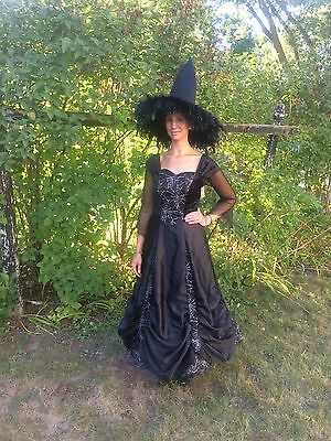 Spiderweb Adult Witch Costume New W/tags Med Sz 8-10 -Witch Hat In Pic Included!