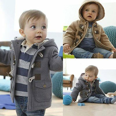 0-5Y Toddler Babys Boys Fleece Hooded Coat Horn Button Outerwear Snowsuit Jacket