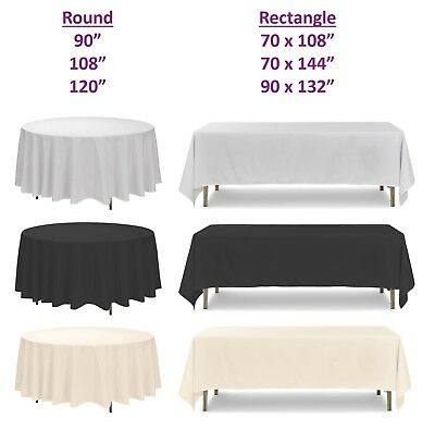 White Polyester Tablecloth, Round Rectangle, Wedding Party Banquet, 1, 5, 10pcs