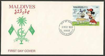 MALDIVES 1990 DISNEY MICKY MOUSE Single CRICKET FDC