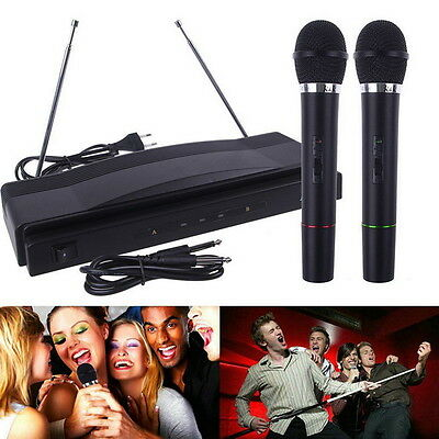 Professional Wireless Microphone System Dual Handheld 2 x Mic Receiver CC