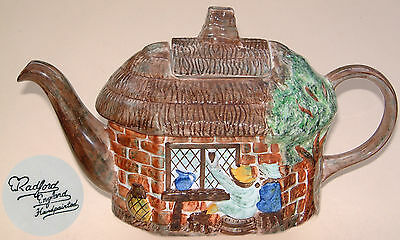 """E Radford: 'Drinkers at Thatched Cottage' Teapot: 11"""" Long"""