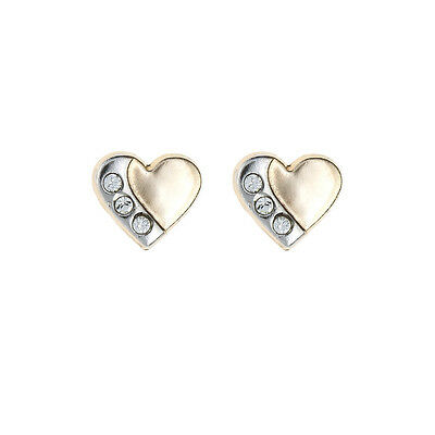 9ct two tone Gold Rhodium Heart Crystal Andralok stud earrings / Gift box