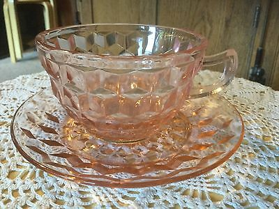 Vintage Depression Cup & Saucer. Pink Cubist by Jeannette Glass Company. #7
