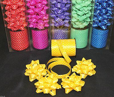 Polka dot design 8.5m curling ribbon roll with 4 bows *6 colours* - gift wrap